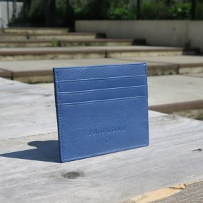 Leather Card Wallet By Profuomo - Blue